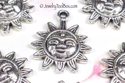 Sun Charms, Antique Silver, Third Eye Motif, Lead Free, 21x17mm, Lot Size 18, #1051