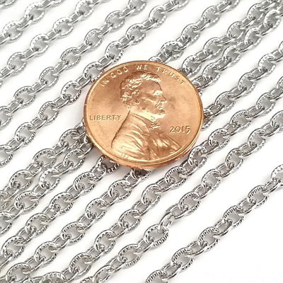 Textured Stainless Steel Bulk Jewelry Making Chain, 3x4mm Oval Links Chain, 20 Feet to 50 Meters, #1031 C