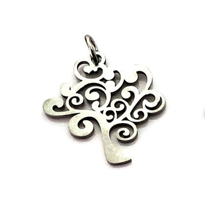 Tree Charms, Stainless Steel, 20.5x20x1mm, 2.5mm Hole, 5x0.8mm Ring, Lot Size 5 Charms, #1665