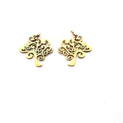 Tree Charms, 24kt Gold Plated Stainless Steel, 20.5x20x1mm, 2.5mm Hole, 5x0.8mm Ring, Lot Size 5 Charms, #1665 G