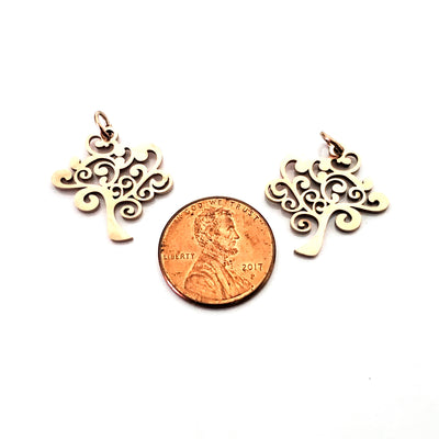 Tree Charms, 24kt Rose Gold Plated Stainless Steel, 20.5x20x1mm, 2.5mm Hole, 5x0.8mm Ring, Lot Size 5 Charms, #1665 RG
