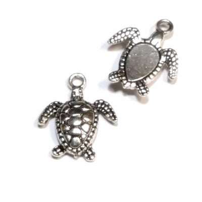 Sea Turtle Pendant Charms, Silver Turtle, Antique Silver Pewter 3 Dimensional Pendant, Lead Free, 18x13mm, Lot Size 20, #1079