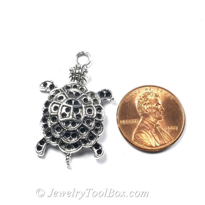 Turtle Pendant Charms, Pewter, Antique Silver, Lead Free, 34x22mm, Lot Size 8, #1005