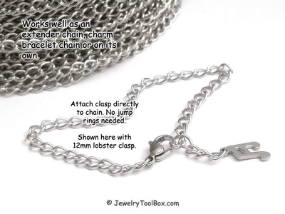 Stainless Twist Chain, Open Link, 3.5x5.5x0.75mm, 50 Meters, #1950