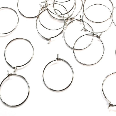 Wine Glass Charm Rings, Earring Hoops, Unfiled Ends, 23 gauge, Lot Size 200, #1315