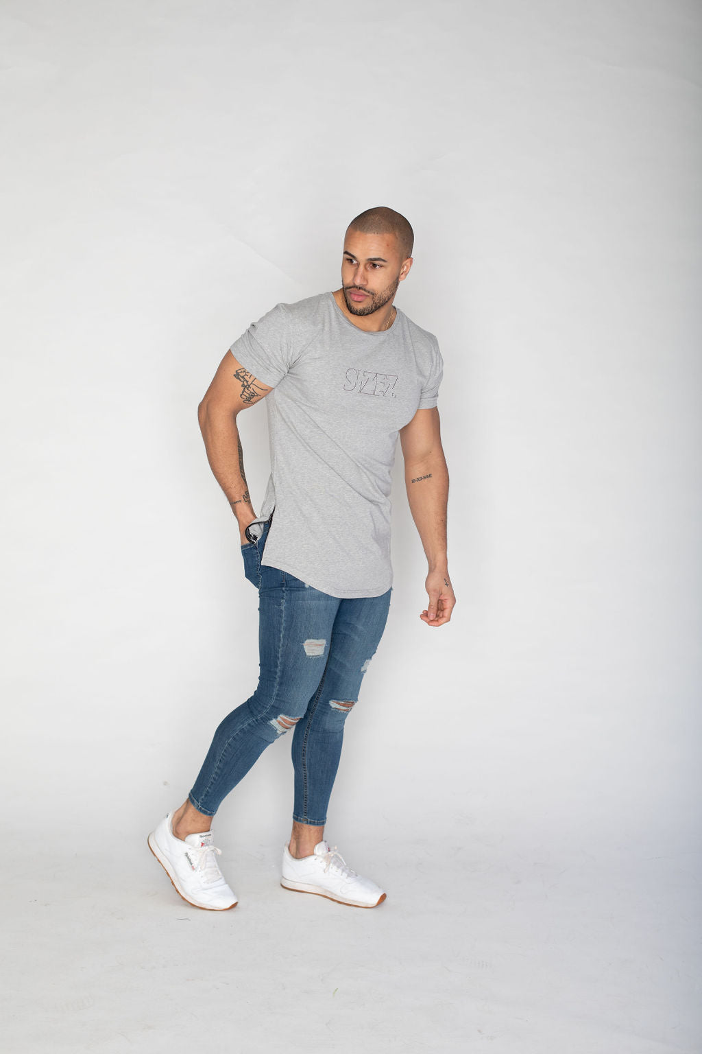 Side Zip T-shirt- Grey