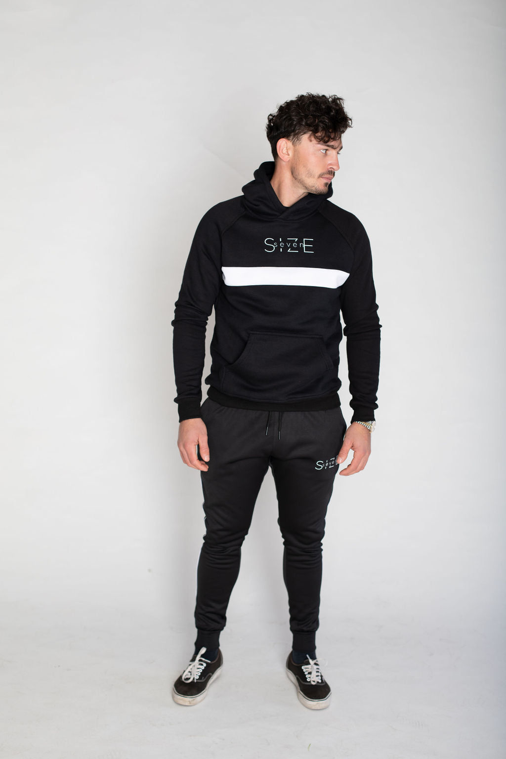 Hoodie with white stripe- Black