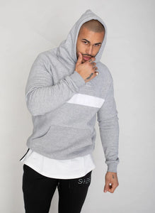 Hoodie with white stripe- Grey