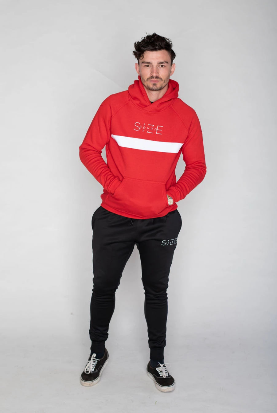 Hoodie with white stripe- Red