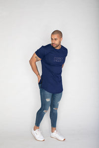 Side Zip T-shirt- Blue