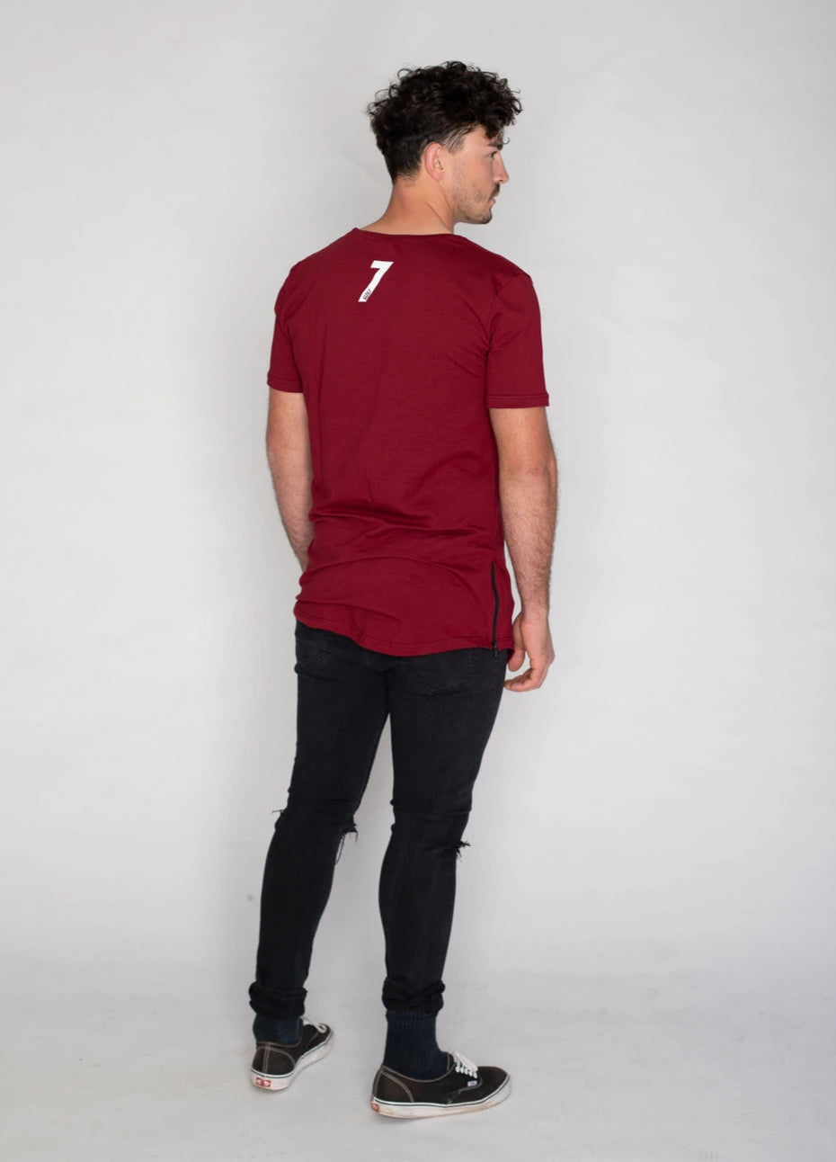 Side Zip T-shirt- Bordeaux
