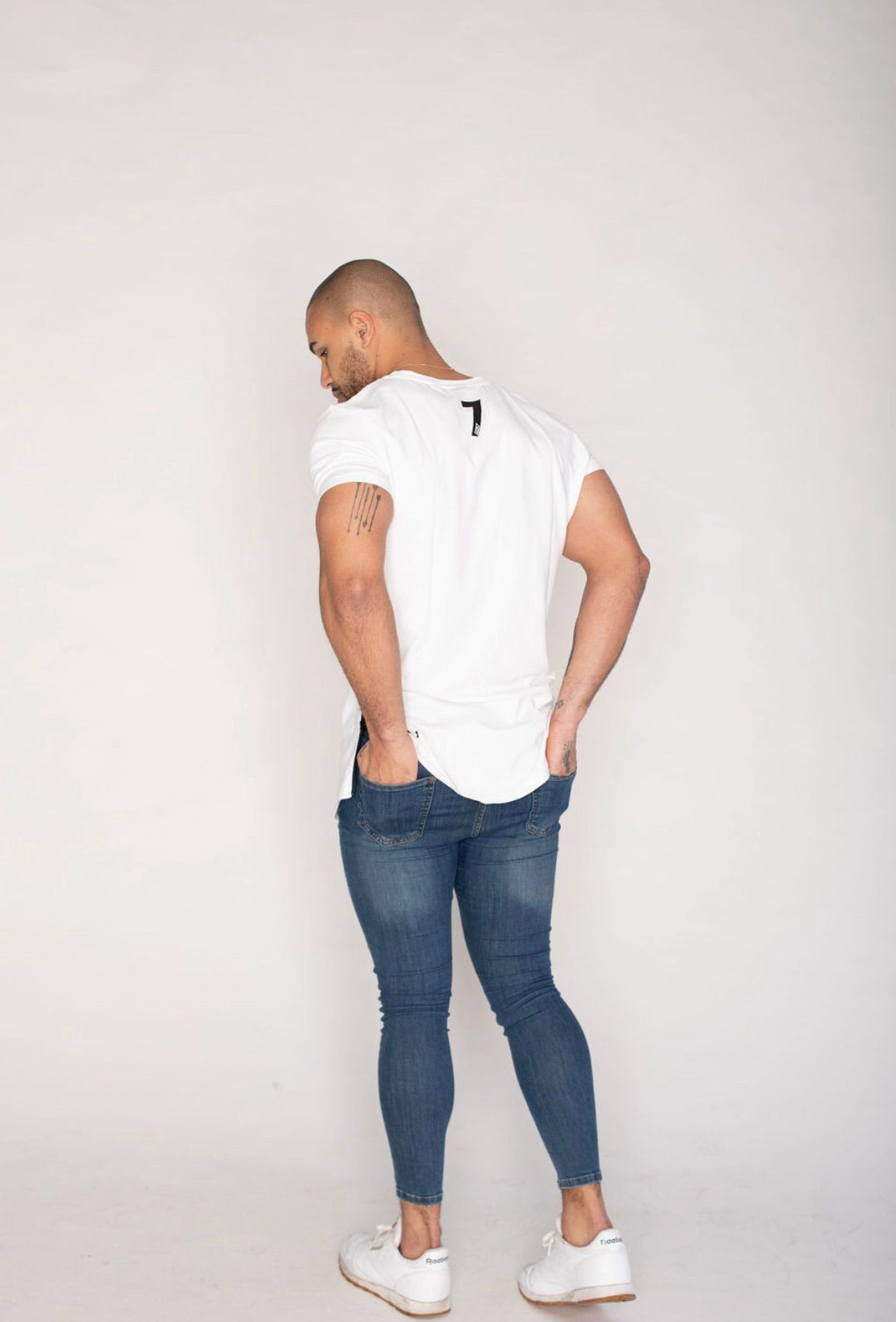 Side Zip t-shirt White