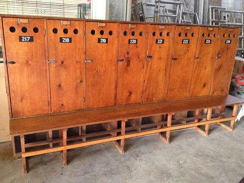 Vintage industrial school lockers.