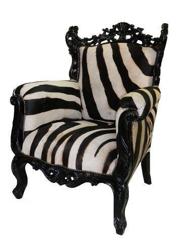French style zebra cowhide accent chair