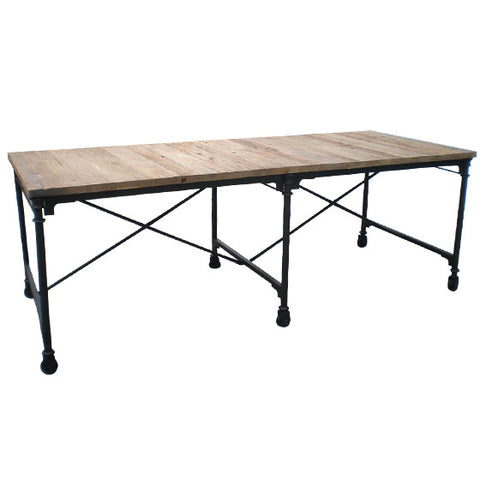 Industrial iron and timber table.