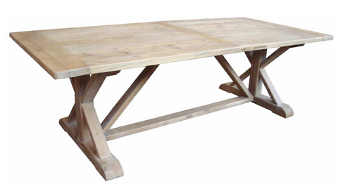 "French style ""X"" end dining table in recycled elm"