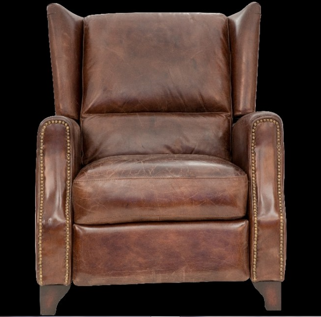 Vintage Style Chairs: Vintage Style Leather Recliner Accent Chair. Jack Horner