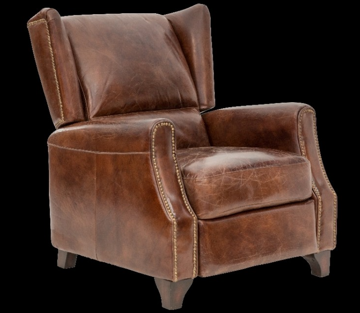 Vintage Looking Chairs: Vintage Style Leather Recliner Accent Chair. Jack Horner