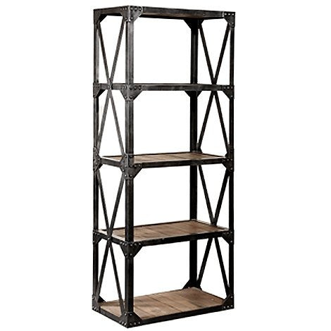 Industrial timber and iron bookshelves.