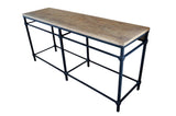 Industrial parquetry top console table