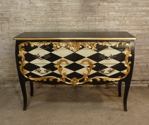 French style harlequin chest of drawers.