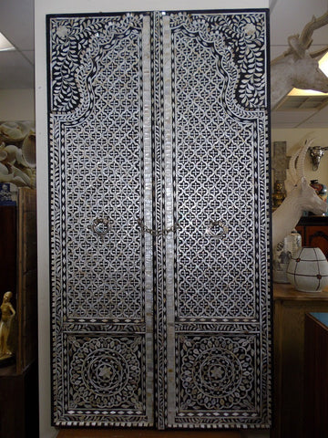 Unique mother of pearl inlaid double doors