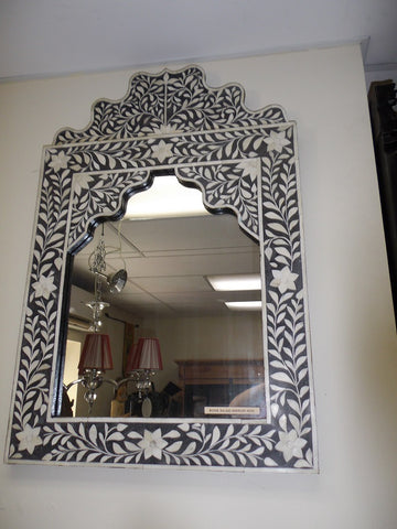 Decorative bone inlaid mirror