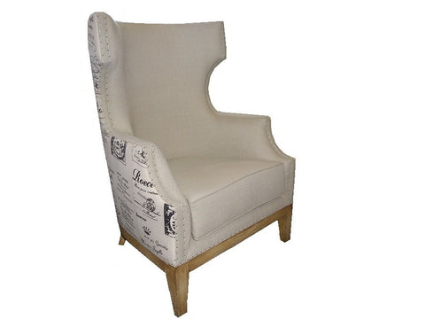 French style script accent chair