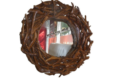 Decorative rustic timber mirror.