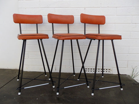 Set of three retro barstools