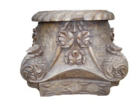 Pair of decorative antique carved timber capitals