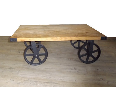 Industrial style coffee table on wheels