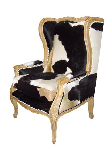 French style cowhide accent chair.