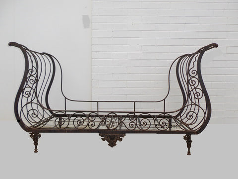 Antique French campaign sofa