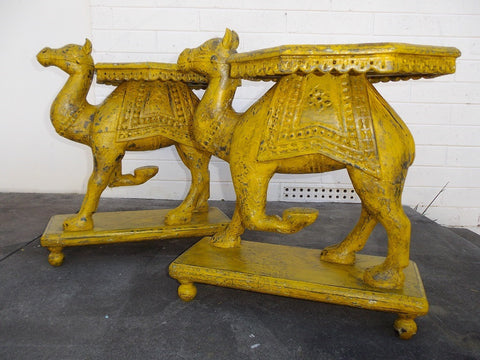 Pair of antique camel bedside tables