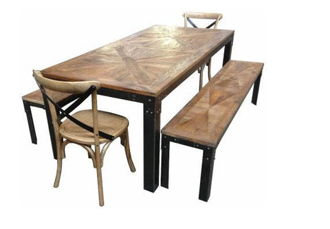 industrial style parquetry top dining table