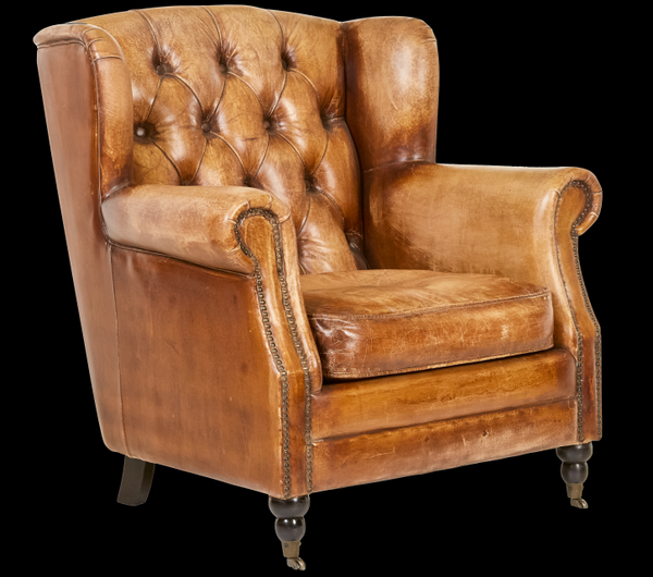 Vintage Looking Chairs: Vintage Style Leather Accent Chair. Jack Horner Interiors