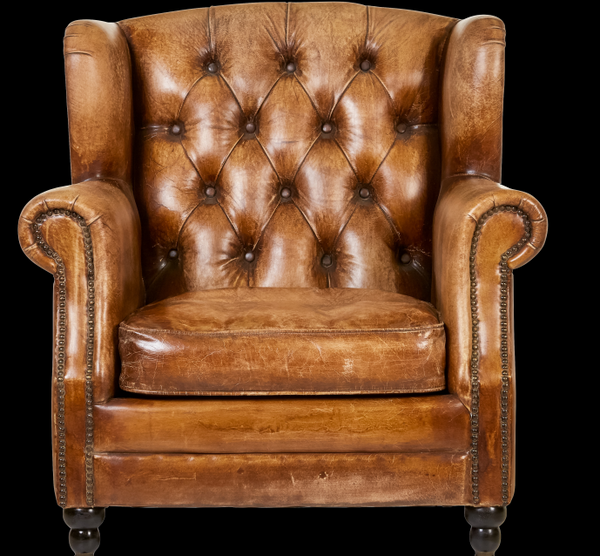 Vintage Style Leather Accent Chair Jack Horner Interiors