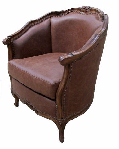 NYC French style leather accent chair