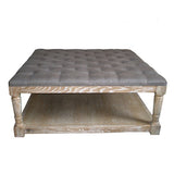 French style oak padded ottoman / coffee table
