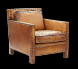 "Vintage style ""Clint"" leather accent chair"