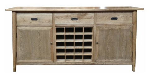 Scandi buffet with wine storage.