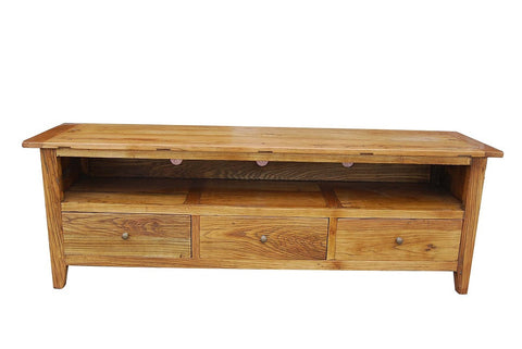 Recycled elm low line tv unit