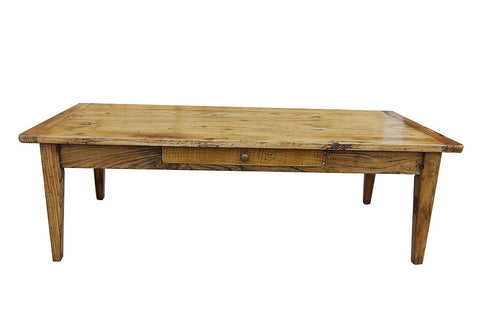 Recycled elm coffee table with drawer.