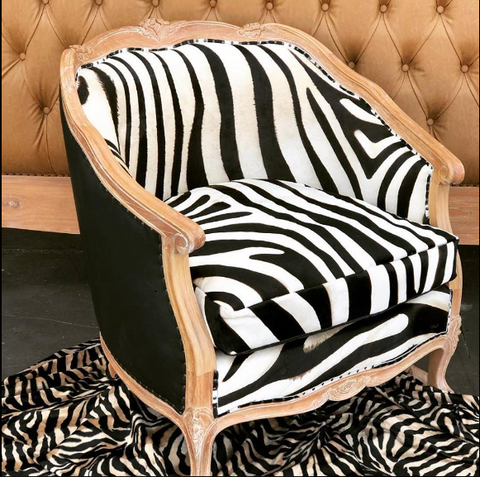 French style zebra accent chair