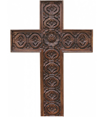 Decorative carved timber cross