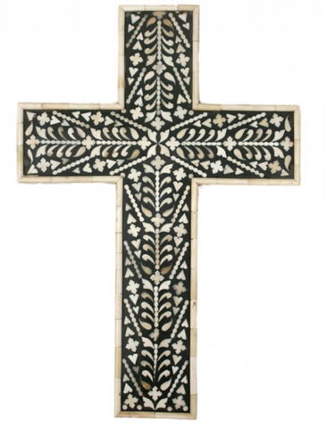 Decorative bone inlaid cross