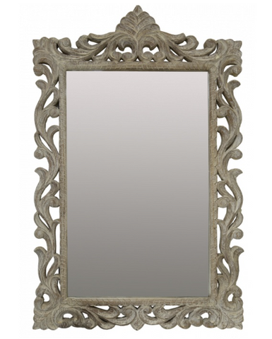White washed decorative mirror