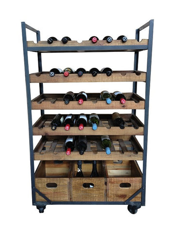 Chateuax industrial style wine rack