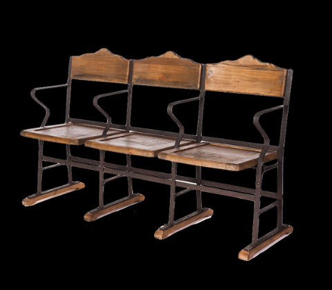 Industrial style theatre seats / dining chairs.